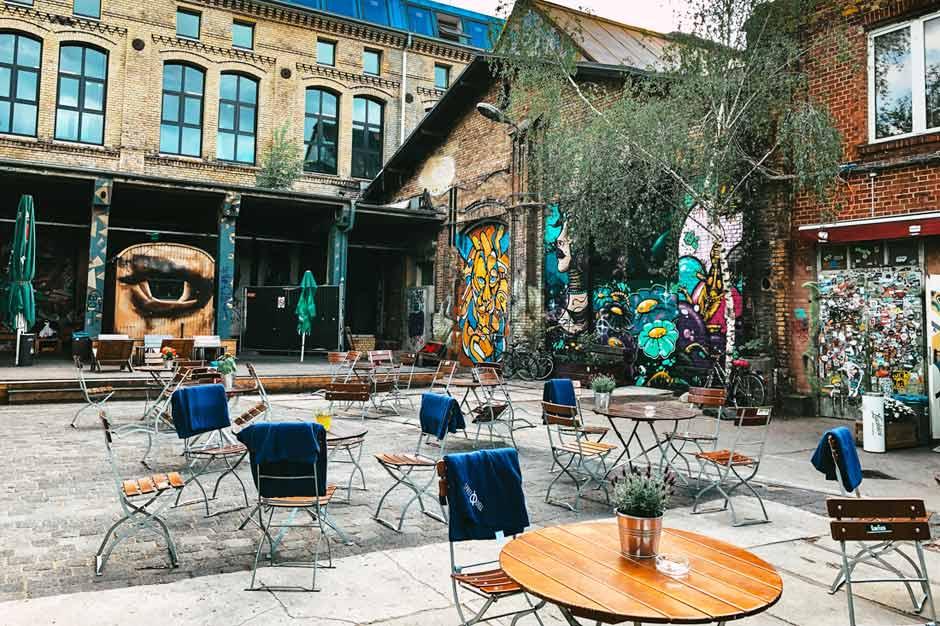 cosy beer garden located in the former industrial estate of Raw Gelände in Berlin