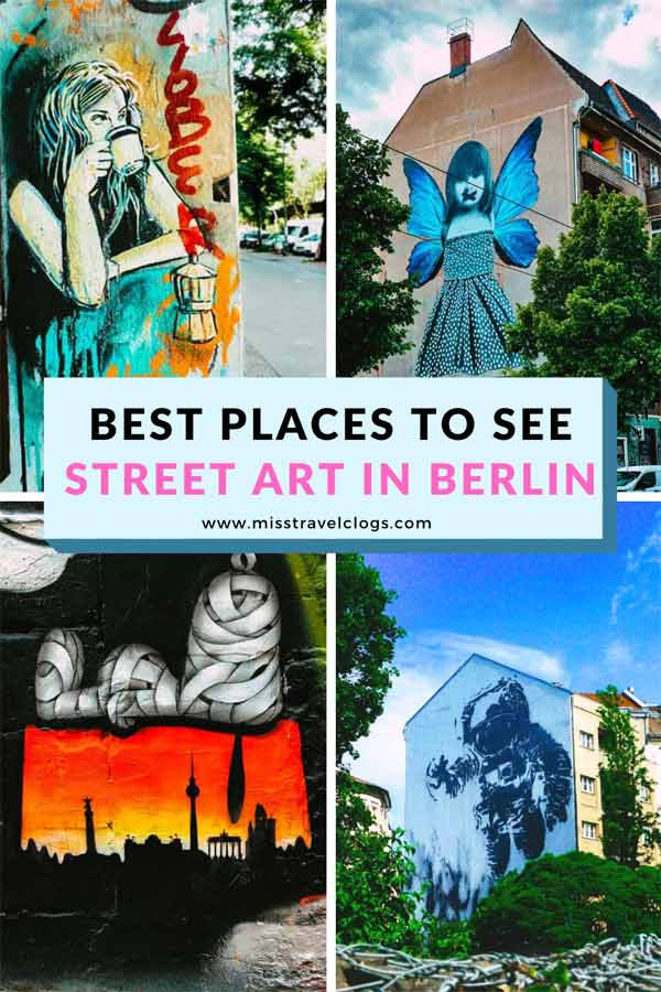 Collage of murals used for saving street art locations in Berlin on Pinterest