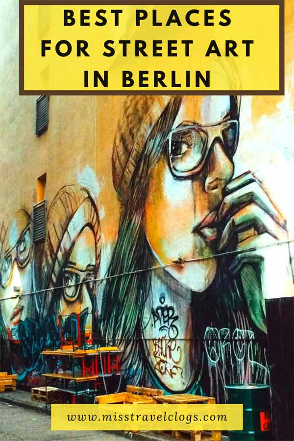 Alice Pasquini image used for saving the best places for street art in Berlin on Pinterest