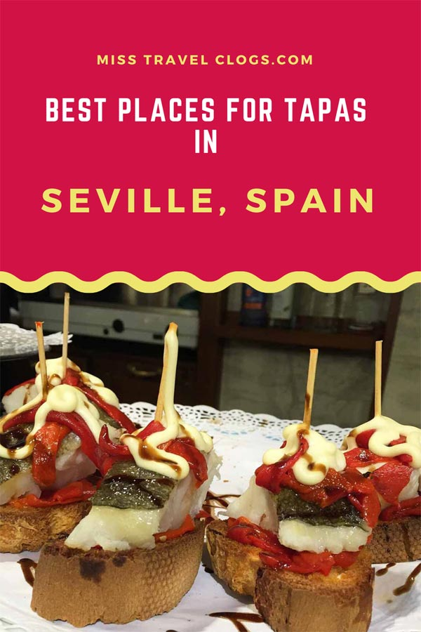 Pinterest image for pinning the best places for tapas in Seville, Spain