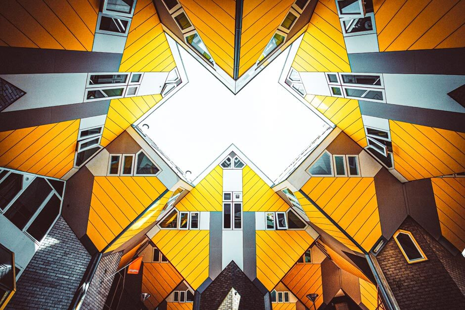 looking up to the tops of the Cube Houses they almost form a star shape