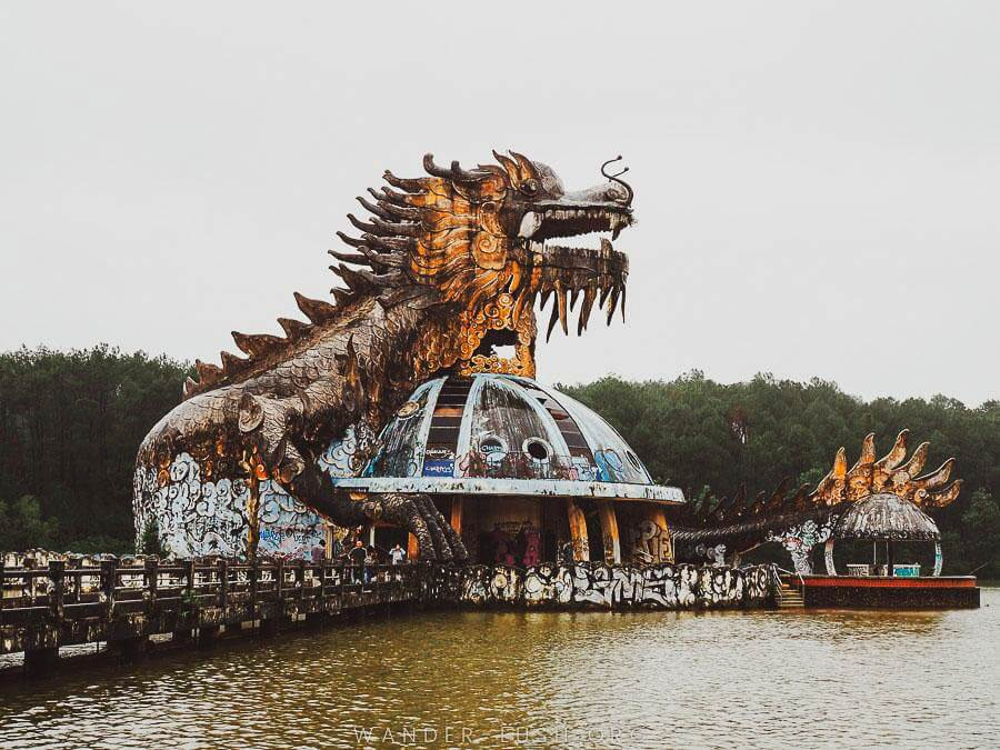 neglected attraction in the former Ho Thuy Tien abandoned waterpark in Hue, Vietnam