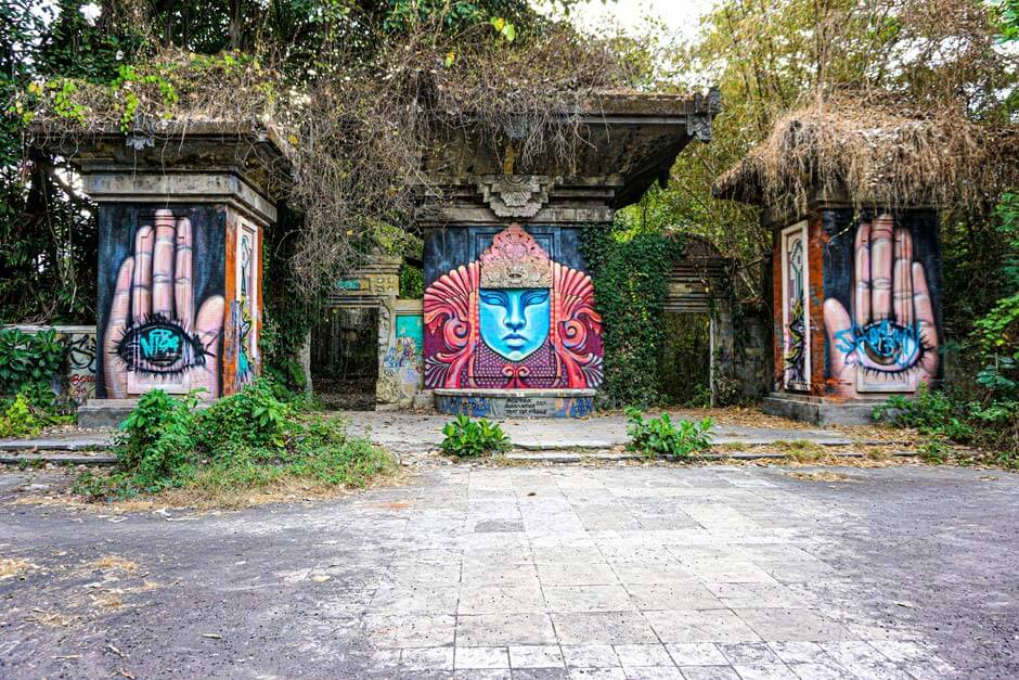 Street art mural and graffiti in former Tamil Festival Park near Sanur in Bali, Indonesia
