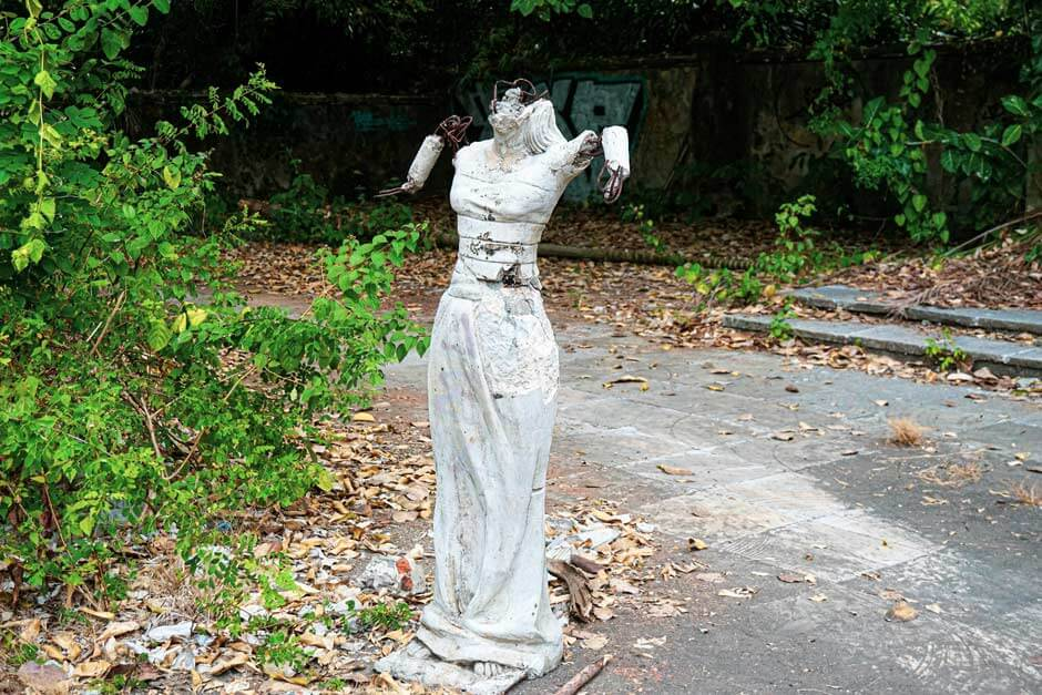 headless and limbless sculpture in the former Tamil Festival Park near Sanur in Bali, Indonesia