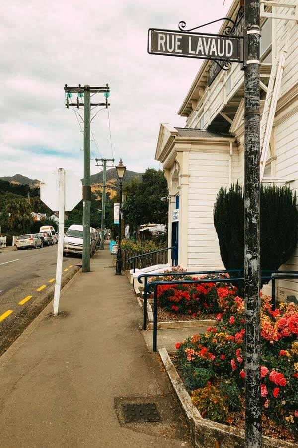 streetview of Rue Lavaud in the French town of Akaroa, New Zealand