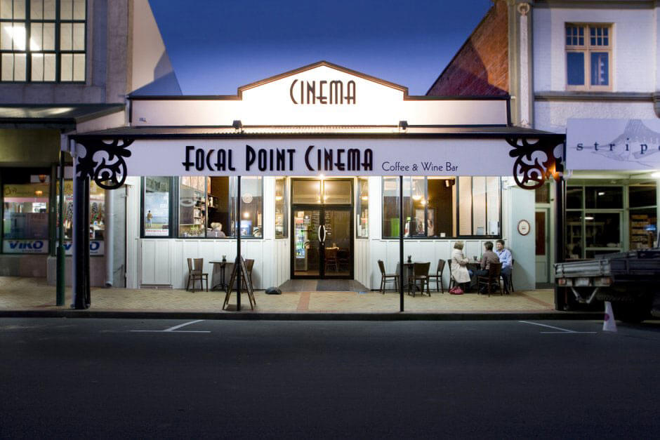exterior of the retro art deco style Focal Point Cinema in Feilding, New Zealand