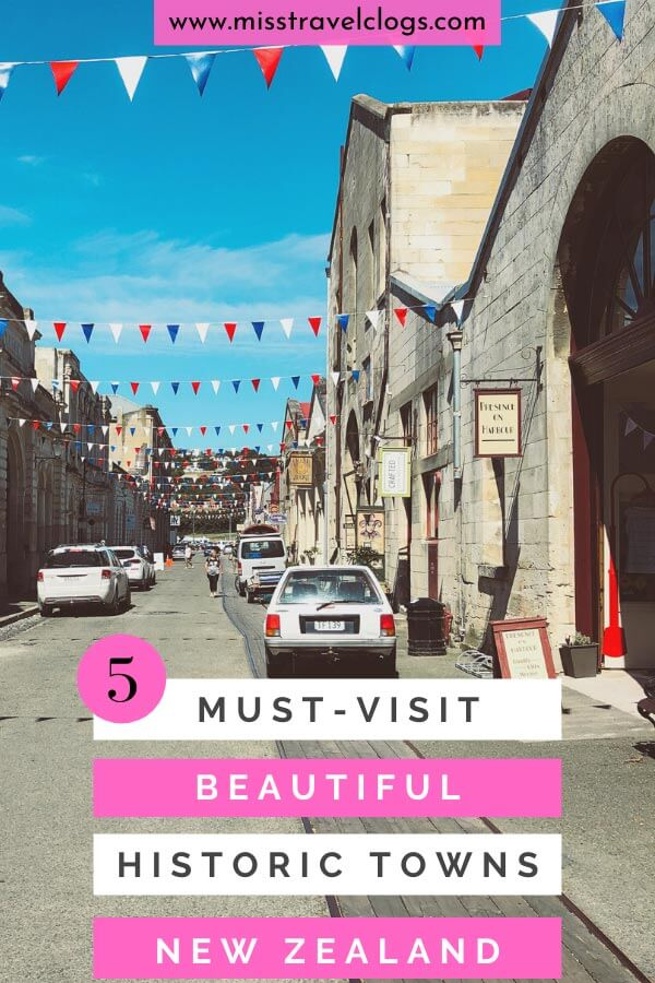 Pinterest image for pinning beautiful small towns in New Zealand