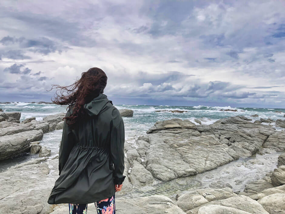 Zarina looking out over Kaikoura's risen seabed