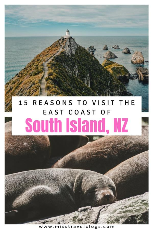 Pinterest image for pinning highlights New Zealand East Coast South Island
